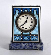 A LOVELY EARLY 20TH CENTURY SWISS SILVER AND ENAMEL MINIATURE CLOCK by the