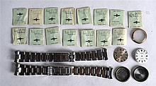TWO VINTAGE ROLEX STEEL STRAPS together with various Rolex watch faces & sp