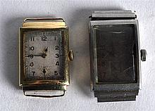 A VINTAGE 9CT GOLD WATCH DIAL together with another similar dial. (2)
