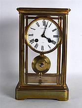A SMALL EARLY 20TH CENTURY FRENCH FOUR GLASS REGULATOR MANTEL CLOCK with wh