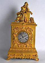 A MID 19TH CENTURY FRENCH ORMOLU MANTEL CLOCK modelled with Shakespeare ter