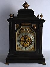 A LARGE 19TH CENTURY MAHOGANY BRACKET CLOCK with painted giltwood finial, t