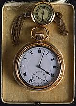 AN ANTIQUE YELLOW METAL GENTLEMANS POCKET WATCH together with a vintage lad
