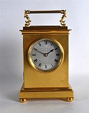 A LOVELY ENGLISH FUSEE CARRIAGE CLOCK by James Gowland of London, with silv