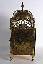A VERY LARGE 19TH CENTURY BRASS LANTERN CLOCK in the 17th Century style, th
