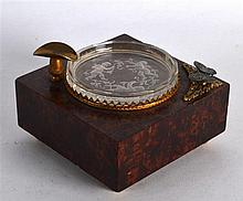 A RARE EARLY 20TH CENTURY EUROPEAN WALNUT AND CLEAR GLASS MUSIC BOX decorat