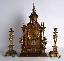 A FINE LARGE 19TH CENTURY FRENCH ORMOLU AND CHAMPLEVE ENAMEL CLOCK GARNITUR