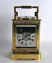 A GOOD LARGE 19TH CENTURY FRENCH CHAMPLEVE ENAMEL CARRIAGE CLOCK AND BAROME