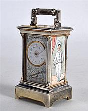 A GOOD EARLY 20TH CENTURY CONTINENTAL SILVER AND ENAMEL MINIATURE CLOCK pai