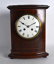 A FRENCH STRIKING MAHOGANY CASED MANTEL CLOCK with white enamel dial. 11.25