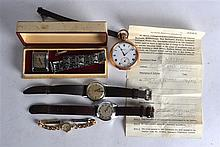 A VINTAGE BENSON GENTLEMANS WRIST WATCH together with a yellow metal pocket