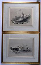 DAVID ROBERTS (British), A Framed Pair of Prints, together with four other