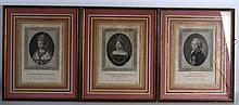 AFTER JEAN HENRY BENNER, Set of Nine Framed Portrait Engravings depicting t