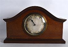 AN EDWARDIAN MAHOGANY MANTEL CLOCK by Thomas Ross & Sons Glasgow. 9.75ins w