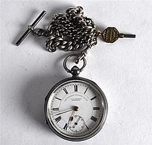A VICTORIAN ENGLISH SILVER POCKET WATCH with silver chain and subsidiary di