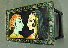 AN EARLY 20TH CENTURY INDIAN OCCASIONAL TABLE, painted with figures.
