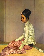 A FRAMED PRINT ON BOARD (1961), A seated Woman,