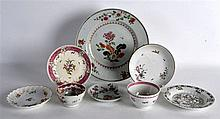 AN 18TH CENTURY CHINESE FAMILLE ROSE PLATE together with a Kangxi saucer et