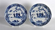 A PAIR OF 19TH CENTURY CHINESE BLUE AND WHITE PLATES painted with figures w