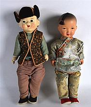 A PAIR OF CHINESE REPUBLICAN PERIOD SILK AND PORCELAIN DOLLS. 1Ft 2.5ins lo