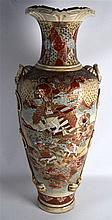 A HUGE 19TH CENTURY JAPANESE SATSUMA POTTERY VASE painted with samurai with