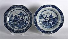 TWO 18TH CENTURY CHINESE BLUE AND WHITE PLATES Qianlong, painted with lands