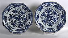 A PAIR OF 17TH/18TH CENTURY CHINESE BLUE AND WHITE OCTAGONAL DISHES Kangxi/