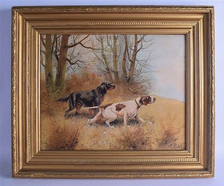 A Framed Pair Of Prints Depicting Two Dogs In A Woodland T