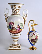 A 19TH CENTURY DAVENPORT TWO HANDLED VASE painted