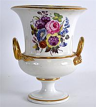 A 19TH CENTURY DERBY SERPENT HANDLED VASE painted