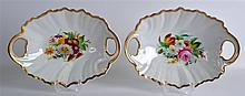 A PAIR OF GERMAN KPM BERLIN TWIN HANDLED DISHES pa