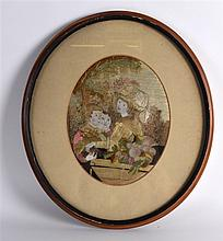 A GEORGE III FRAMED NEEDLEWORK OVAL PANEL depictin