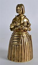 A GOOD EARLY 20TH CENTURY SILVER GILT FIGURAL BELL