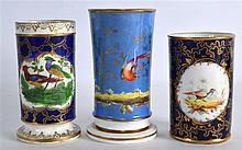 A 19TH CENTURY DERBY SPILL VASE painted with a bir