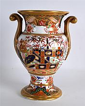 A 19TH CENTURY SPODE TWIN HANDLED VASE painted wit