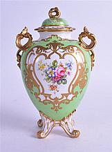 ROYAL CROWN DERBY VASE & COVER, painted on green ground by William Mosley. 17 cm high.