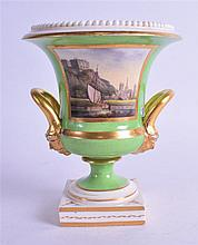 19TH CENTURY APPLE GREEN GROUND DERBY VASE, painted with a view of Nottingham Castle. 15 cm high.