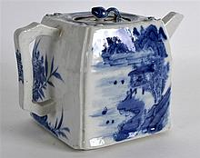 A CHINESE BLUE AND WHITE SQUARE FORM TEAPOT AND CO