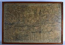 A LARGE ANTIQUE FRAMED AND GLAZED MAP OF SURREY. 3