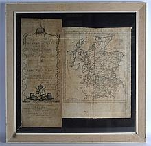 AN 18TH CENTURY FRAMED AND GLAZED SURVEY MAP OF SC