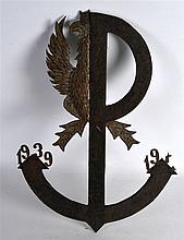 AN UNUSUAL RUSSIAN METAL ANCHOR PANEL with imperia