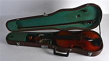 TWO 20TH CENTURY CASED VIOLINS. (2)