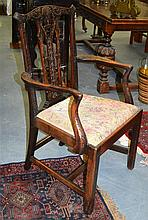 A GOOD GEORGE III CARVED MAHOGANY ELBOW CHAIR with