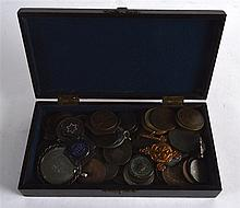 AN EARLY 20TH CENTURY BOX containing numerous coin