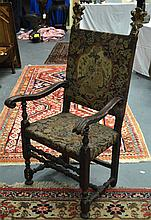 A LARGE ANTIQUE EMBROIDERED HALL CHAIR with flamin