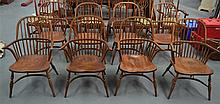A GOOD SET OF EIGHT COUNTRY WINDSOR DINING CHAIRS