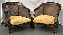 A GOOD PAIR OF ANTIQUE CHINOISERIE LACQUERED LOW C