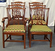 A SET OF SIX ANTIQUE GEORGE III STYLE DINING CHAIR