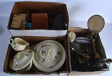 THREE BOXES OF ASSORTED ITEMS including binoculars