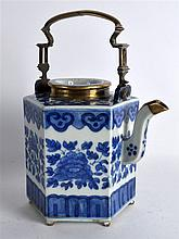 AN EARLY 19TH CENTURY CHINESE BLUE AND WHITE HEXAG